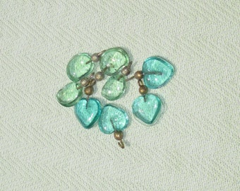 Glass Drop Charms - 8 pcs - Jewelry Making Supplies