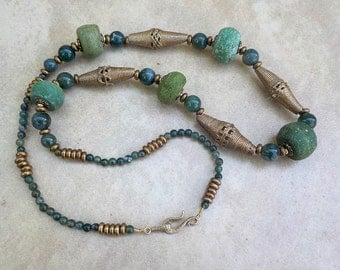 Green Hebron Bead Brass Necklace. Five green antique Hebron beads with African cast brass beads and moss agate long necklace.