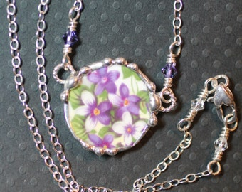Necklace, Broken China Jewelry, Broken China Necklace, Purple Violet China, Sterling Silver Chain, Soldered Jewelry