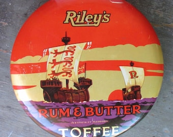 Riley's Rum & Butter Toffee Tin Vintage Halifax, England Ships Advertising