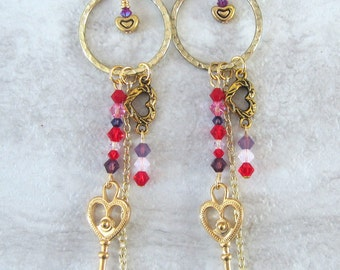 Key to my heart earrings, gold heart earrings, Swarovski crystal earrings, Valentine's day gifts for women, free shipping, handmade, for her