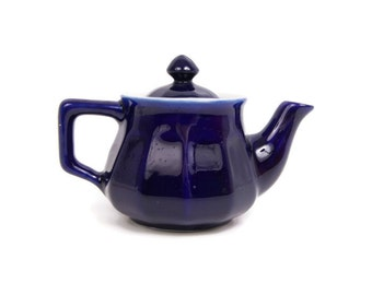 Vintage Cobalt Blue Teapot Porcelain Small Tea Pot One Serving Teapot Ribbed