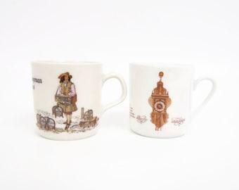 Vintage Mitterteich Demitasse Mugs Espresso Coffee Cups Bavarian Bone China Clock Motif German Vendor