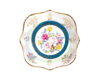 Vintage Lusterware Rose Plate Iridescent Dish Made in Japan Hand Painted Roses Gold Accents Square Floral Plate Candy Bowl Vanity Trinkets