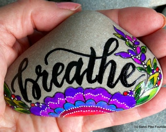 breathe / painted stones / painted rocks / breath stones / paperweights / yoga / zen / words in stone / boho art / altar art / inspirational
