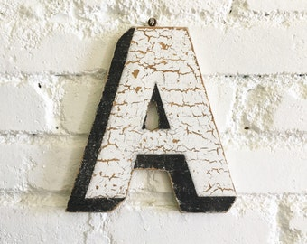 "Vintage Carnival Letter ""A"" Antique Original Old Hand Painted Sign Letter Primitive Shabby Chic Folk Art Circus Wood Sign Letter"