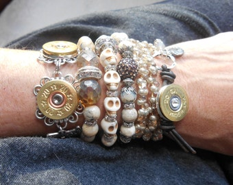 Shotgun Jewelry 20 Gauge 3X Wrap Bracelet ~ Gold Farfalle Butterfly Wings ~ Leather Heart Charm ~ Bohemian Cowgirl Stacker Bracelet
