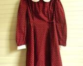 Girls Vintage Dress, Cotton Print Long Sleeve Dress, Round Collar Dress, Girls Size 7 Dress, Long Sleeve Cotton Dress, Burgundy Print Dress