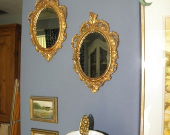 Two (2) 50's Italian Wood Carved Gold Gilt Mirrors