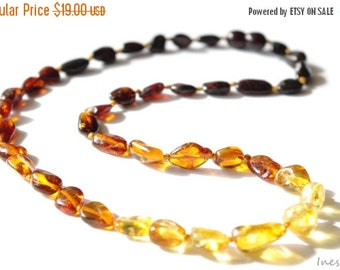 15% OFF THRU OCT Baltic Amber Necklace Rainbow Color Olive Beads 319