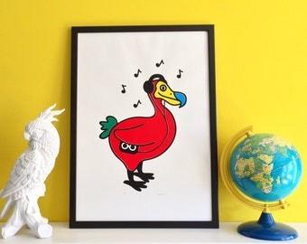 Dodo Screenprint, Bird Song Poster, Five Colour Screen Print, Retro Music Poster, Walkman, Design Poster, Handprinted Art, A2 Poster Art