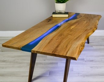 Resin River Coffee Table on Walnut Base