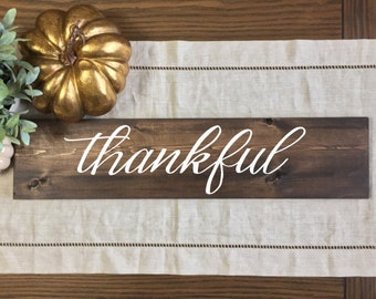 Thankful Wood Sign | Thankful | Fall Sign | Fall Decor | Rustic Fall Sign | Hand Painted Fall Sign | Thanksgiving Decor | Fall Home