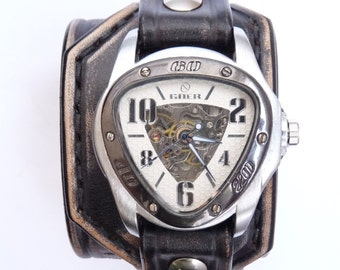 Personalized Leather Watch, Men's Watch, Steampunk Watch, Text Watch, Custom Leather Watch