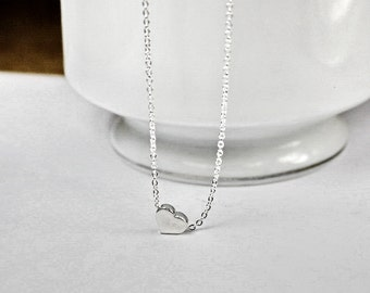 Small Heart Necklace, Simple Tiny Silver Heart Necklace, Delicate Dainty Minimalist Jewelry, Love Necklace, Personalized Heart Jewelry Y061