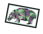 Hippo Cross Stitch Pattern - Modern Cross Stitch Pattern - Origami Animal Cross Stitch Pattern - Geometric Animal Cro