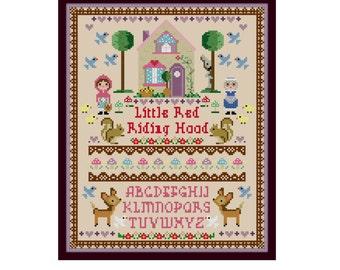 Little Red Riding Hood Cross Stitch Pattern - Kawaii Cross Stitch Pdf - Cross Stitch Sampler - Cute Cross Stitch Pattern