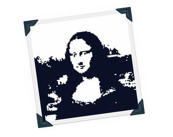 Mona Lisa Cross Stitch Pattern - Famous Face Silhouette Cross Stitch Pdf