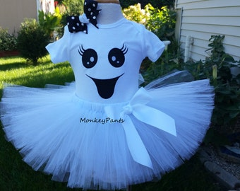 Girl Ghost Costume  - Ghost Tutu Outfit - Baby Girl Ghost Costume -  Girl Halloween Costume