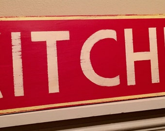 KITCHEN hand painted retro/vintage style red sign