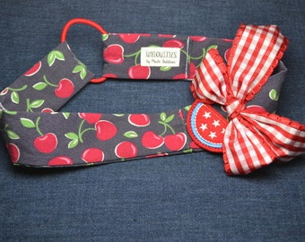 Red Cherries Patriotic Headband, fits tween girls to adults, red white blue fruit watermelon patch stars gingham ribbon bow 4th of July