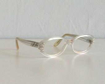 Vintage 1960s Eyeglasses / 60s Mod White Pearl Jeweled Rhinestone Eyewear Frames