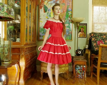 Fiery Red Patio Dotted Swiss Day Dress . 1950's Mexico Style . Calif Party Hostess . Rockabilly Swing Dance . a la Jane Russell steamy . .