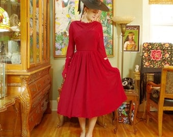 Cherry Red 50s New Look Dress . Classic Vintage Mid Century Party Dress . Rockabilly Swing Circle Skirt . Lady in Red . Audrey Hepburn .