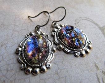 Opal Earrings Fire Opal Earrings Sterling Silver Earrings Opal Jewelry Art Deco Earrings Art Nouveau Earrings Purple Earrings- Precious