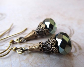Art Deco Earrings Art Nouveau Earrings 1920s Earrings Miss Fisher Earrings Sage Green Filigree Earrings Olive Green Earrings- Olivia