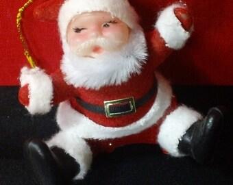 Flocked Sitting Santa Claus Christmas Tree Ornament ~ Vintage Holiday Decor