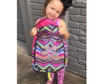 Flower Backpack, Zigzag Backpack, Personalized Backpack for Girls, Backpack for Children, Girls School Backpack, Monogrammed Backpack