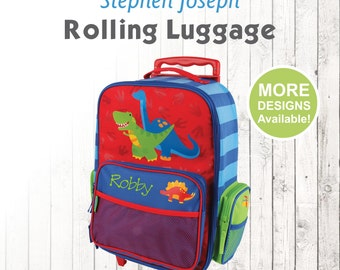 Dinosaur Rolling Luggage, Stephen Joseph Kids Luggage, Personalized Children's Suitcase, Embroidered Name, Travel Suitcase for kids