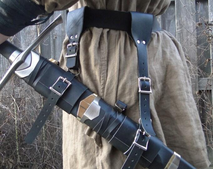 Leather Sword Holder, Hanger, Frog, Strap Set Medieval Renaissance
