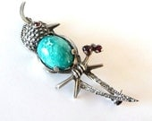 Vintage Turquoise Jelly Belly Brooch Pin 800 Silver Bird Pin Garnets Paste Rhinestones