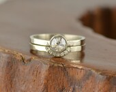 Clear Rose Cut Diamond Engagement Ring