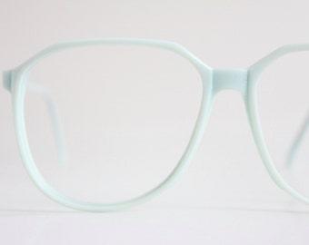 Vintage 80's Oversized Ice Blue Eyeglasses Frames