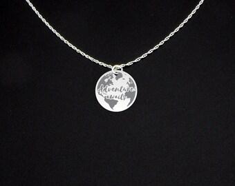 Adventure Awaits Necklace - Adventure Awaits Jewelry - Adventure Awaits Gift - Traveler Gift - Gift for Traveler