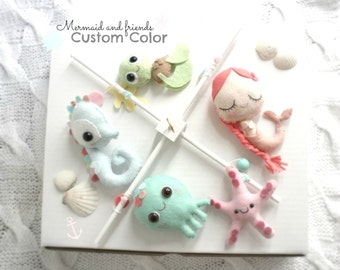 BABY MOBILE, The Little Mermaid, Under the sea, Ocean animals, star fish, baby seahorse, baby octopus, baby turtle