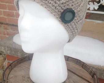 Taupe Wool Hat Crocheted with Button, Crochet Wool Beanie, Womens Wool Winter Hat, Wool Beanies, Wool Winter Hat, Crocheted Wool Beanies
