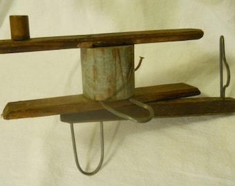 Primitive wood fence winder farm tool