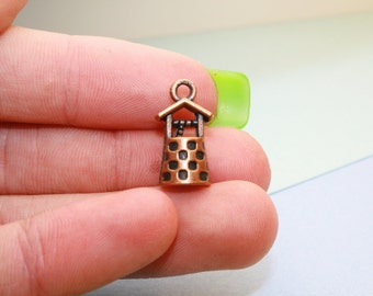 Wishing Well Charm, 8 3D Charms 17 x 9 mm Antique Copper Tone - cg154