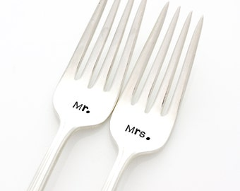 Mr & Mrs wedding forks. Hand stamped wedding silverware for unique engagement gift.