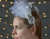 Bridal Headband ~ Beautifully accented with horsehair, feathers, and vintage rhinestone jewelry