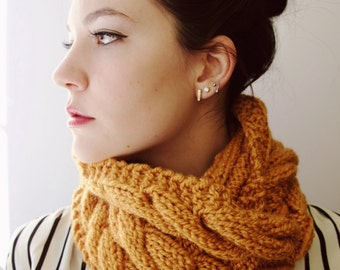 Knit Yellow Infinity Scarf