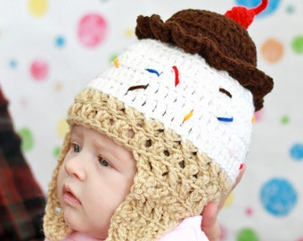 Ice Cream Cone Hat, Rainbow Sprinkles, Ice Cream Baby, Cute Baby Costume, First Birthday, Ice Cream Party, First Birthday Outfit