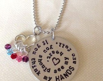 Hands full, heart full mother's grandmother's necklace with birthstones and heart charm