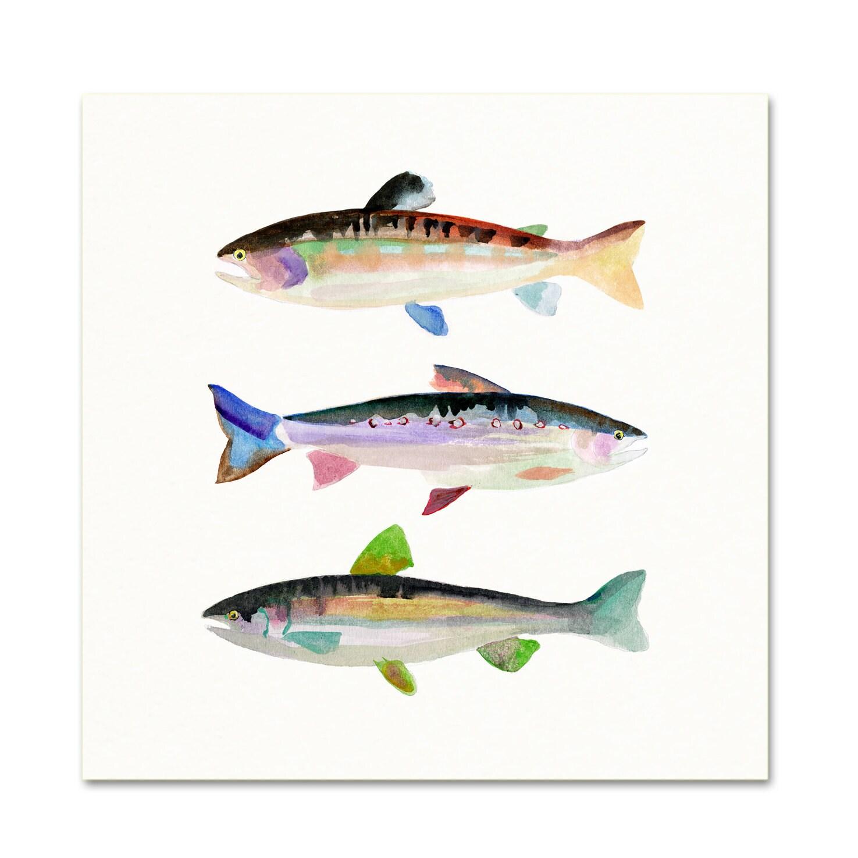 Trout watercolor print fish art print pond life nature for Watercolor fish painting