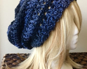 READY TO SHIP Chunky Crochet Slouchy Hat - Charcoal, Black - Wool Blend - Women's / Teens