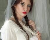 Tall wedding veil, white tulle Renaissance-style medieval bridal crown headpiece, 1960s